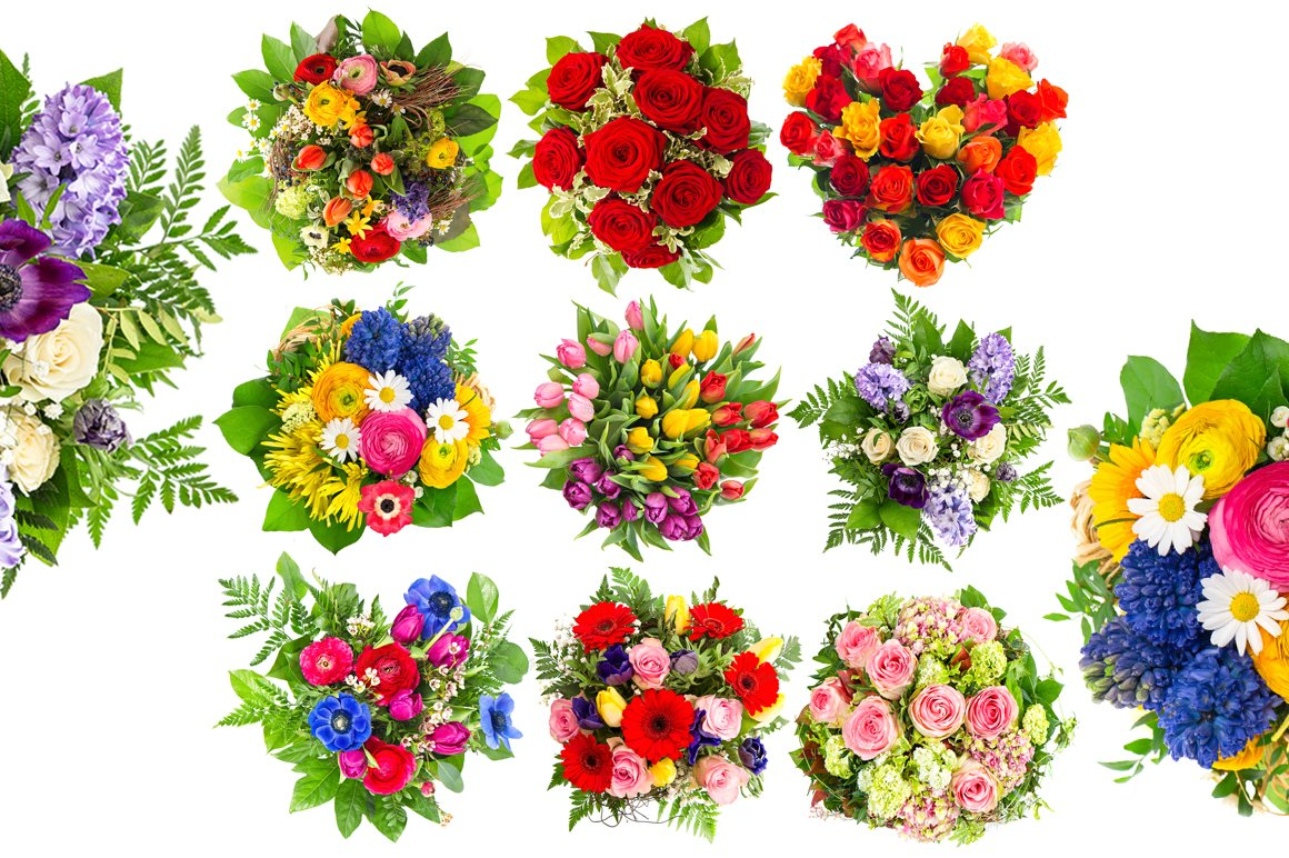 Bouquets of colorful flowers ~ Graphic Objects ~ Creative Market