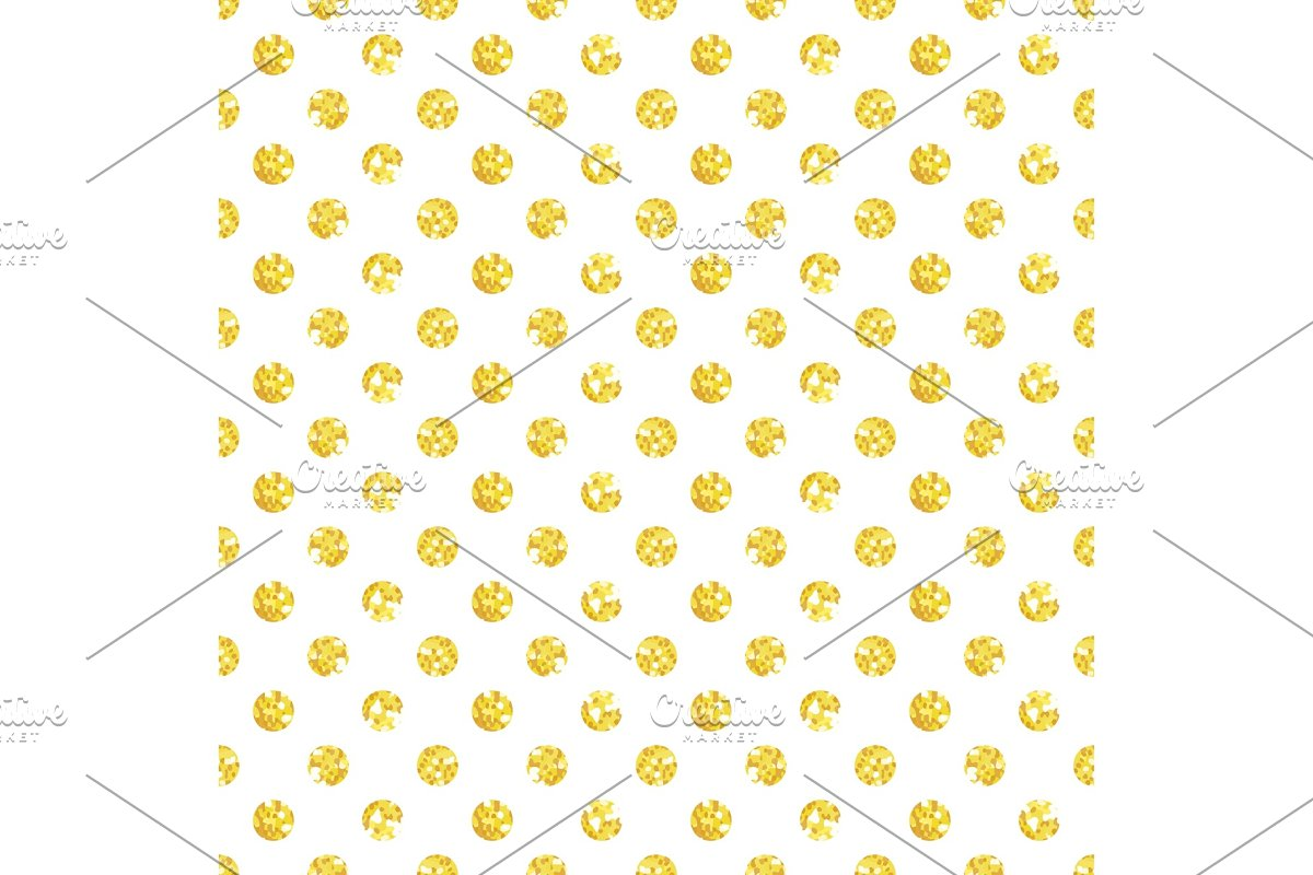 Cute seamless pattern of golden glitter polka dots in Textures
