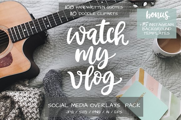 Social Media Lettering Overlays Pack in Objects - product preview 1