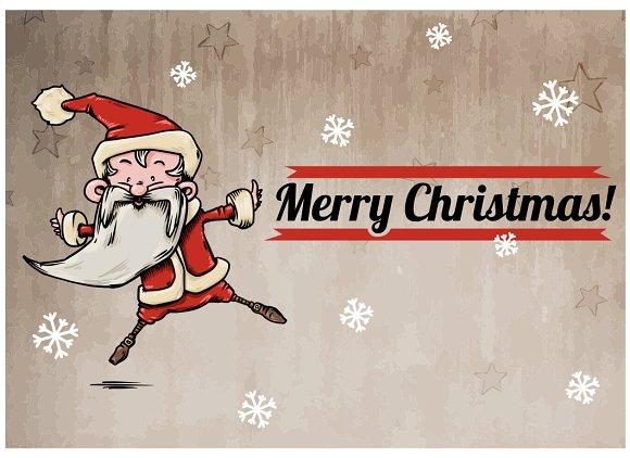 Joyful jumping Santa - vector -