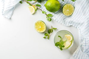 Homemade lemonade or mojito cocktail