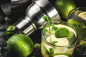 Homemade lemonade or mojito cocktail