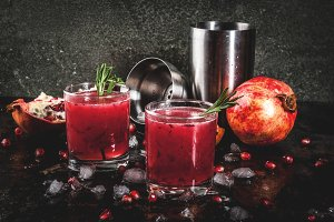 Boozy alcoholic pomegranate cocktail