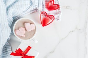 Hot chocolate with marshmallow heart