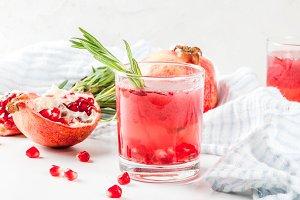Boozy alcoholic pomegranate cocktail