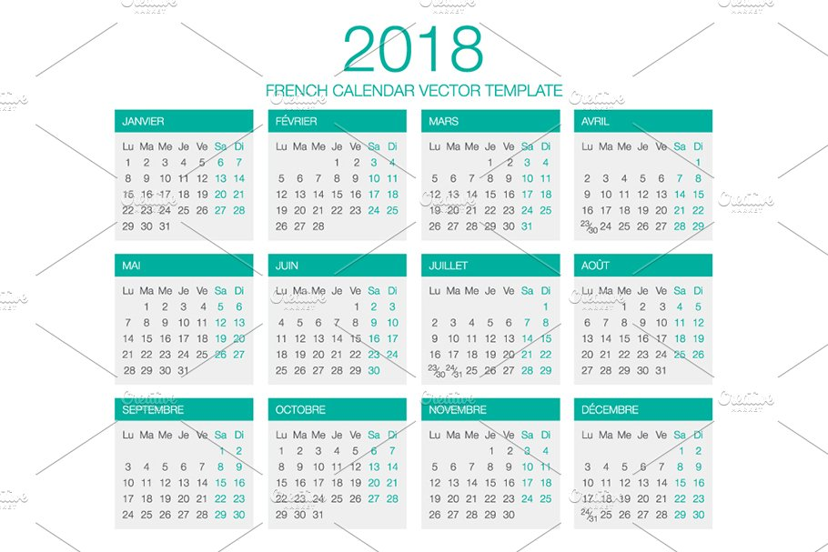 french calendar vector 2018 stationery templates creative market