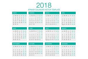 Spanish Calendar Vector 2018