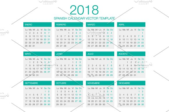spanish calendar vector 2018 stationery