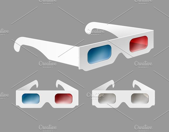 Set of white paper 3d glasses