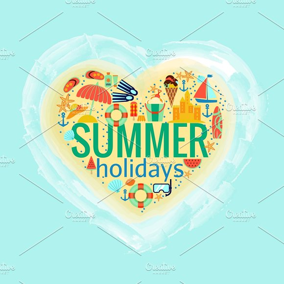 Summer holidays heart poster