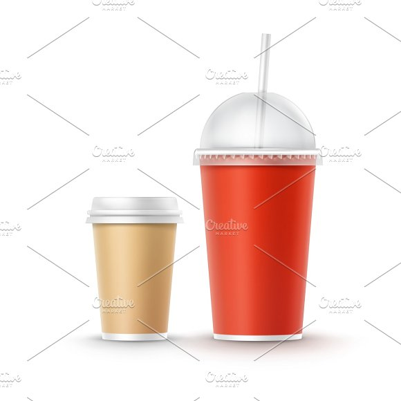 Vector Set of Cardboard Cups