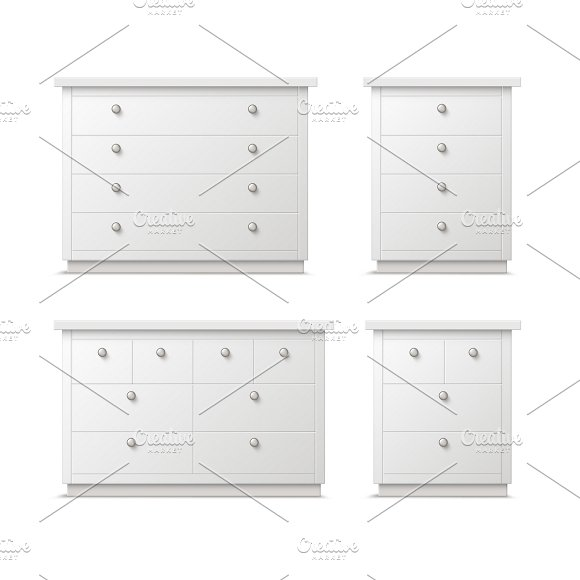 Different white drawers