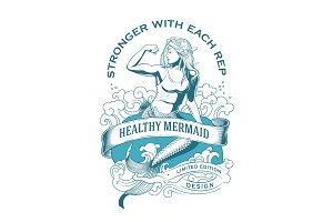 Fitness Logo Healthy Mermaid