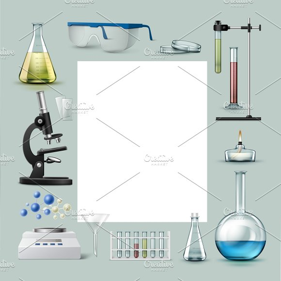 Chemical laboratory equipment in Illustrations