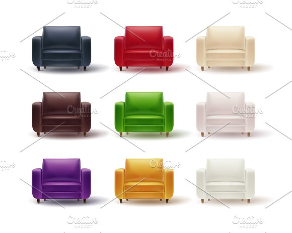 Set of colored armchairs in Illustrations