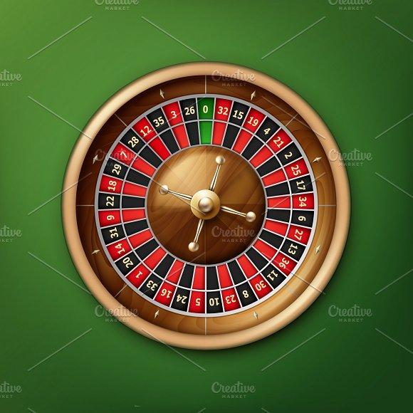 Realistic casino roulette wheel