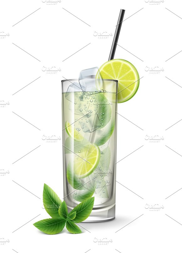 Mojito cocktail with sliced lime in Illustrations