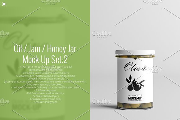 Oil / Jam / Honey Jar Mock-up Set.2