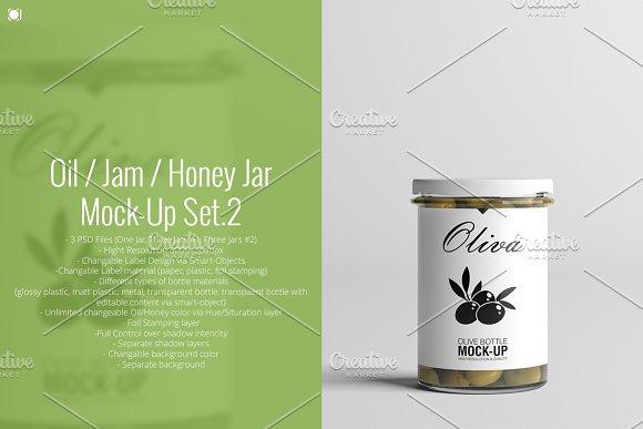 Oil / Jam / Honey Jar Mock-up Set.2 in Product Mockups