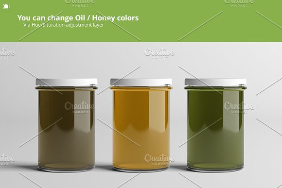 Oil / Jam / Honey Jar Mock-up Set.2 in Product Mockups - product preview 4