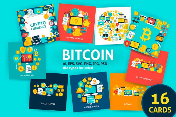 Bitcoin Cryptocurrency Concepts in Illustrations