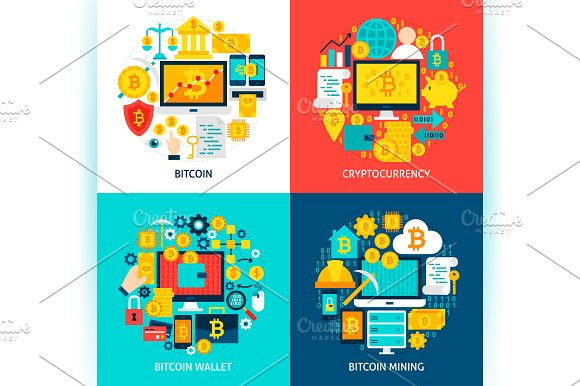 Bitcoin Cryptocurrency Concepts in Illustrations - product preview 2