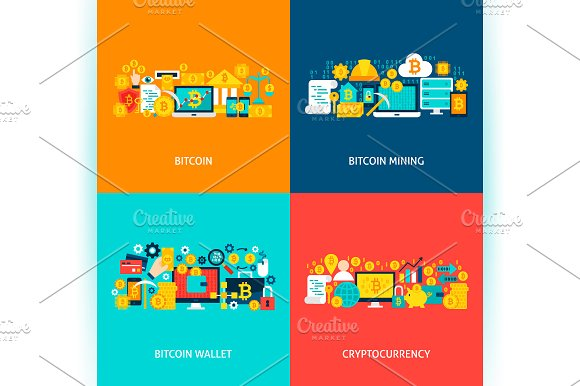 Bitcoin Cryptocurrency Concepts in Illustrations - product preview 3