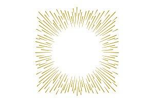 Gold fireworks design on white backg