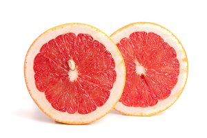 Grapefruit slices isolated on white background close-up