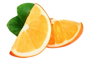 Orange slices with leaf isolated on the white background