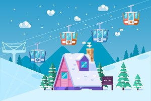 Mountain ski resort in winter.Snow and fun.Vector illustration in flat style