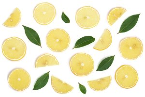 Slices lemon with leaves isolated on white background. Flat lay, top view
