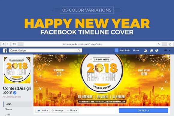 2018 New Year Facebook Cover Web Elements Creative Market