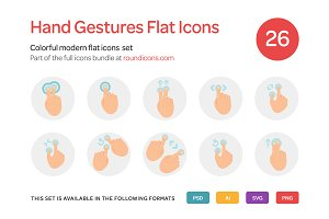 Hand Gestures Flat Icons Set