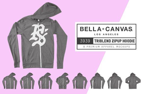 Download Bella Canvas 3939 Zip-Up Hoodie
