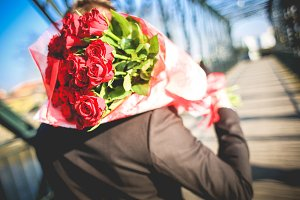 Gentleman with Bouquet of Roses #2