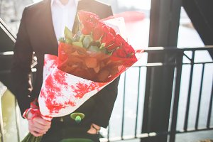 Gentleman with Bouquet of Roses #3