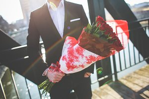Gentleman with Bouquet of Roses #1