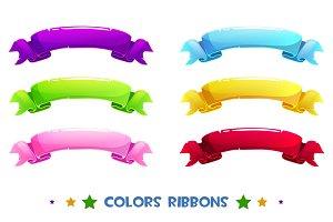 Cartoon colour ribbons. Vector Celebratory tape.