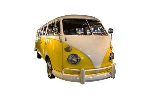 yellow white microbus