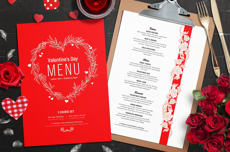 Valentines Menu Template Vol.2 ~ Flyer Templates ~ Creative Market