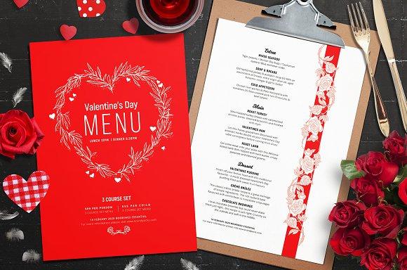 Valentines Menu Template Vol 2 Flyer Templates Creative Market