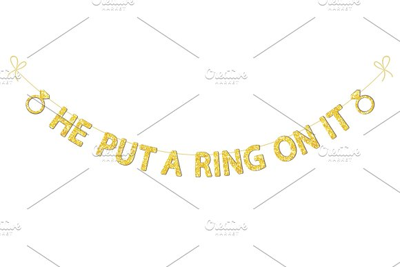Cute bachelorette party bunting as gold glitter letters and engagement ring in Objects