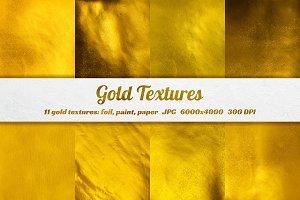 11 Gold foil, paper, paint textures