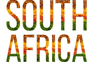 word south africa country is written with leaves on a white insulated background, a banner for printing, a creative developing country colored leaves south africa
