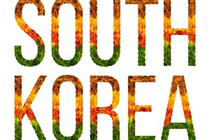 word south korea country is written with leaves on a white insulated background, a banner for printing, a creative developing country colored leaves south korea