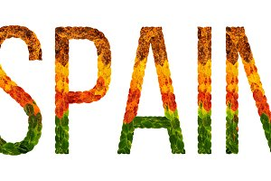 word spain country is written with leaves on a white insulated background, a banner for printing, a creative developing country colored leaves spain