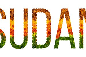 word sudan country is written with leaves on a white insulated background, a banner for printing, a creative developing country colored leaves sudan