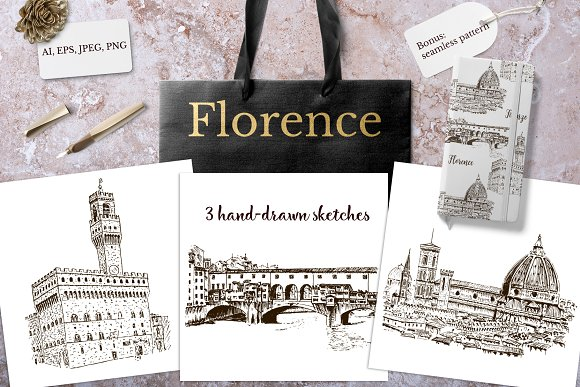Set of Florence sketches in Illustrations