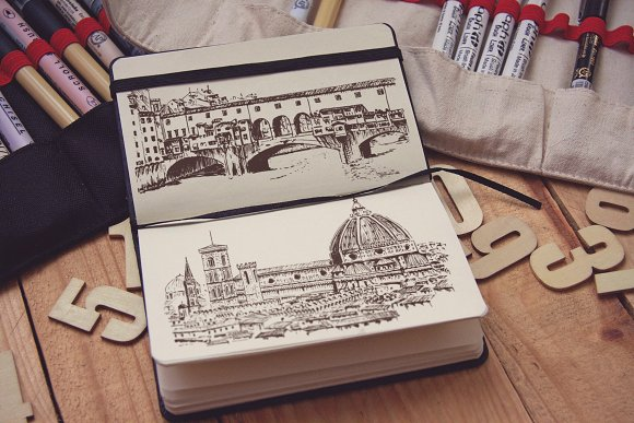 Set of Florence sketches in Illustrations - product preview 2